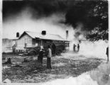 African American home set on fire by Ku Klux Klan, Georgia, February 28, 1949.