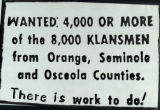 """Want Ad"" placed by the Ku Klux Klan in The Orlando Sentinel-Star, 1942"