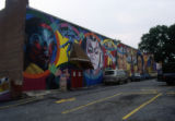 Mural on the side of the 7 Stages Theatre building, Euclid Avenue, Little Five Points, Atlanta,...