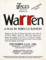 Flier and press releases for a new production of revised script of Rebecca Ranson's...