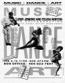 "Poster advertising ""Music, Art, Dance,"" a multi-discipline performance with Leroy..."