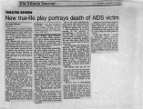 New True-life Play Portrays Death of AIDS Victim, by Linda Sherbert. In Atlanta...