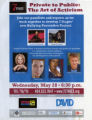 Private to Public: The Art of Activism, flyer for panel discussion at 7 Stages Theatre, Atlanta,...