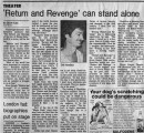"""'Return and Revenge' can stand alone,"" by Scott Cain.  In the Atlanta Journal, July 27,..."