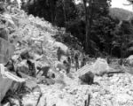 Prisoners working in rock quarry. Unidentified photograph that may be of Keith Quarry near...