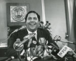 Maynard Jackson at his first press conference as Mayor, Atlanta, Georgia, January 1974.