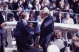 Former President Gerald Ford shaking hands with newly elected President Jimmy Carter, 1977