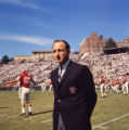 Georgia Bulldogs' coach Vince Dooley during warm ups before a game, 1965