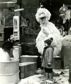 Big Bird and Kermit the Frog speak with a child on the set of Sesame Street, New York, N.Y.,...