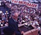Republican candidate Barry Goldwater address the crowd during a campaign stop, 1964