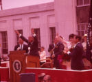 President Lyndon B. Johnson addresses the crowd in Gainesville, 1964