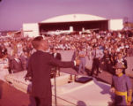 Senator John F. Kennedy addressing supporters at the LaGrange airport, 1960