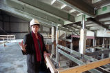 Gail O'Donnell of Georgia State University inside the Rialto Theatre during construction, 1995