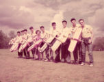 Team photograph of the model airplane racing Veco Stunt Team, 1951