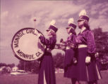 Monroe Girls Bugle Corps drummer and bugle players during practice, 1955