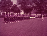 Monroe Girls Bugle Corps line up during a band practice, 1955