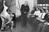 Police Chief Jenkins teaches new recruits an orientation, and a self-defense class, 1953