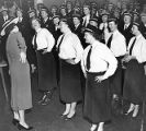 Atlanta policewomen training during a required charm and posture class, 1954