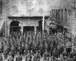 Atlanta Police force gathers outside police headquarters in uniform and with mounted police, circa...