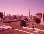 Historic Oakland Cemetery with the Atlanta skyline in the background, 1963