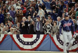 Braves' owner Ted Turner celebrates his team's win over the Indians, World Series Game Two, 1995