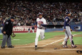 David Justice crosses homeplate after Belliard sacrifices, World Series Game One, 1995
