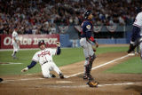 Braves' Mark Lemke scores in the bottom of the third, World Series Game Two, 1995
