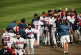 The Braves celebrate their victory in World Series Game Four, 1995