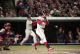 Indians' third basemman Jim Thome hits a homerun in the 8th inning of the World Series Game Five,...