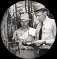 "Forester showing pine farm owner how the ""increment borer"" can determine age of pine..."