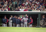Luis Polonia celebrates his home run, World Series Game Five, 1995