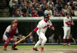 Eddie Murray lines out in the 4th inning, World Series Game Five, 1995