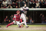 Ryan Klesko hits a long homer in the 9th inning of World Series Game Five, 1995