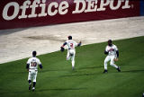 Braves' Rafeal Belliard catches a foul ball in the 9th inning of  World Series Game Six, 1995