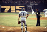 Dodgers' catcher Joe Ferguson watches as Hank Aaron rounds the bases after hitting his 715th home...