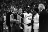 Governor Jimmy Carter with Hank Aaron during Aaron's pregame celebration, 1974