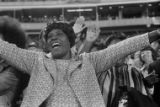 Hank Aaron's mom yells with excitement as he hits his 715th home run, 1974
