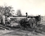 Off-loading lumber from a horse-drawn wagon, Georgia, 1950s?