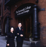 SCAD founders Richard and Paula Rowan in front of Preston Hall, 1982