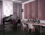 Broadcasters in the WSB radio room, 1956