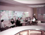 WSB-TV employees in the breakroom of the new white columned building, 1956