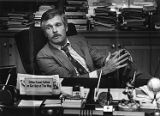 Ted Turner at his desk inside the CNN Center, 1982