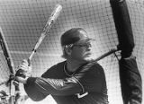 New St. Louis Cardinal Bob Horner taking batting practice, 1988