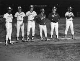 Atlanta Braves' Bob Horner with teammates during introductions before a game, 1980