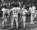 Braves' Chris Chambliss greets Bob Horner at homeplate, 1982