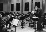 Robert Shaw rehearses music with the ASO for an upcoming album, 1981