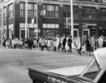 Protestors demonstrating against Davison's retail store and segregation, 1961