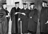 Presidential candidate Franklin D. Roosevelt receiving an honorary degree from Oglethorpe...