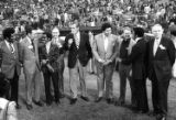Atlanta politicians and celebrities gather to celebrate Hank Aaron's record breaking night, 1974