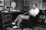 Author Pat Conroy in his garage office, 1984
